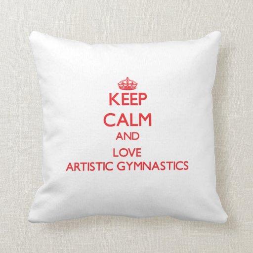 Guarde la calma y ame la gimnasia artística almohadas