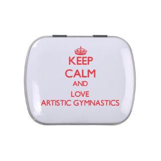 Guarde la calma y ame la gimnasia artística jarrones de caramelos