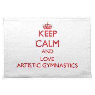 Guarde la calma y ame la gimnasia artística mantel individual