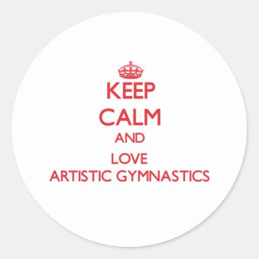 Guarde la calma y ame la gimnasia artística etiqueta
