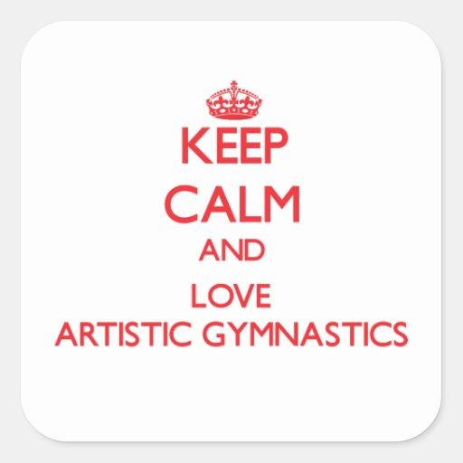 Guarde la calma y ame la gimnasia artística calcomanía cuadrada personalizada