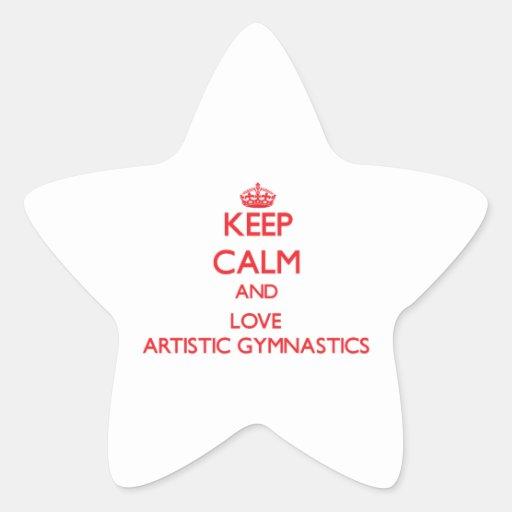 Guarde la calma y ame la gimnasia artística pegatina forma de estrella personalizada