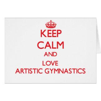 Guarde la calma y ame la gimnasia artística tarjeton