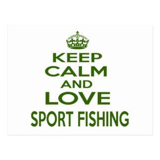 Guarde la calma y ame la pesca deportiva postal