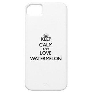 Guarde la calma y ame la sandía iPhone 5 Case-Mate fundas
