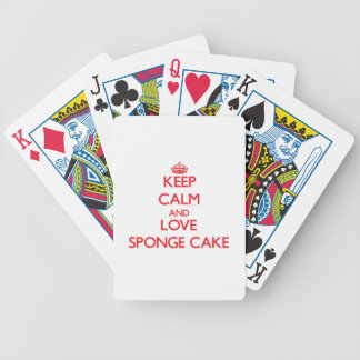 Guarde la calma y ame la torta de esponja baraja de cartas