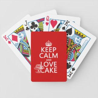 Guarde la calma y ame la torta los colores del pe baraja cartas de poker