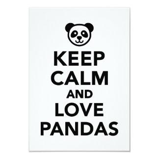Guarde la calma y ame las pandas invitación 8,9 x 12,7 cm