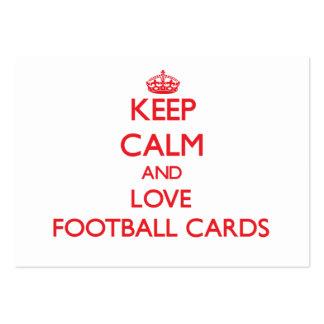 Guarde la calma y ame las tarjetas del fútbol tarjetas de visita grandes
