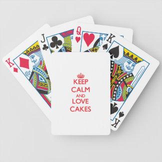 Guarde la calma y ame las tortas cartas de juego