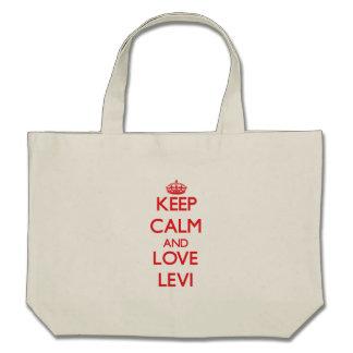 Guarde la calma y ame Levi Bolsas De Mano