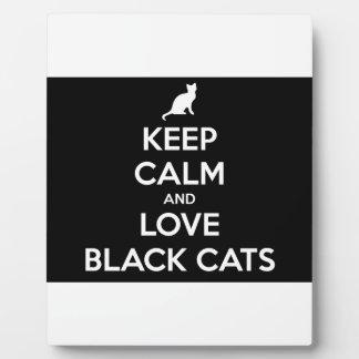 Guarde la calma y ame los gatos negros placa expositora