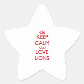 Guarde la calma y ame los leones colcomanias forma de estrellaes