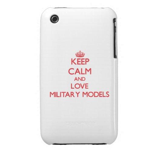 Guarde la calma y ame los modelos militares Case-Mate iPhone 3 cobertura