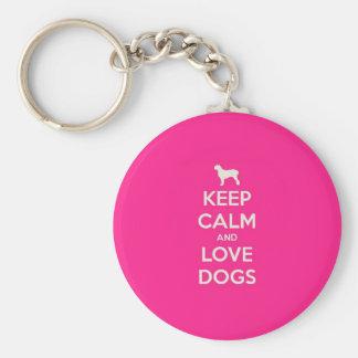Guarde la calma y ame los perros llavero redondo tipo chapa