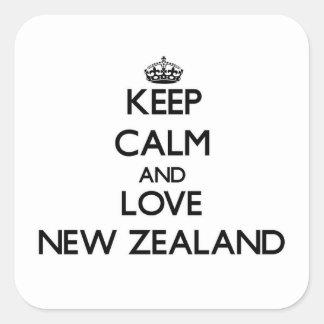 Guarde la calma y ame Nueva Zelanda Calcomanía Cuadradas Personalizada