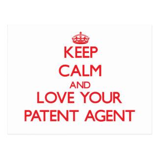 Guarde la calma y ame su agente de patente postal