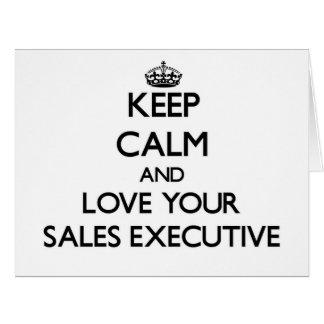 Guarde la calma y ame su ejecutivo de ventas tarjeta de felicitación grande
