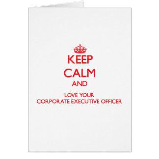 Guarde la calma y ame su oficina de ejecutivo tarjeta de felicitación