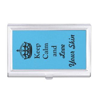 Guarde la calma y ame su piel caja de tarjetas de negocios