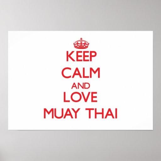 Guarde la calma y ame tailandés de Muay Impresiones