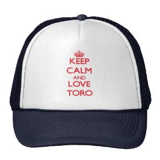 Guarde la calma y ame Toro Gorras De Camionero