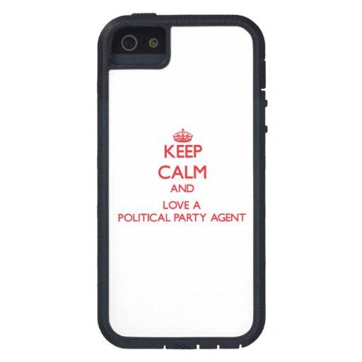 Guarde la calma y ame un agente del fiesta polític iPhone 5 carcasas