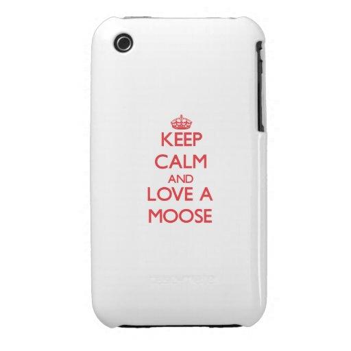 Guarde la calma y ame un alce Case-Mate iPhone 3 cárcasas