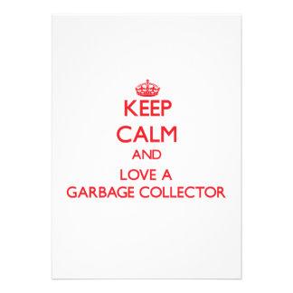 Guarde la calma y ame un colector de basura invitaciones personales