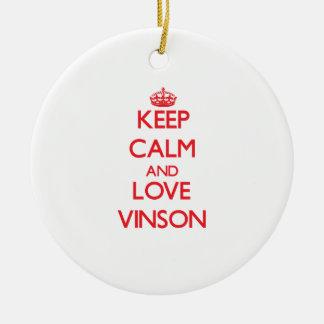 Guarde la calma y ame Vinson Adorno Navideño Redondo De Cerámica