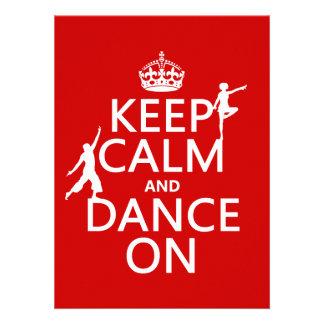 Guarde la calma y baile en en todos los colores comunicado personal