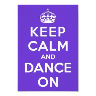 Guarde la calma y baile encendido invitación 8,9 x 12,7 cm