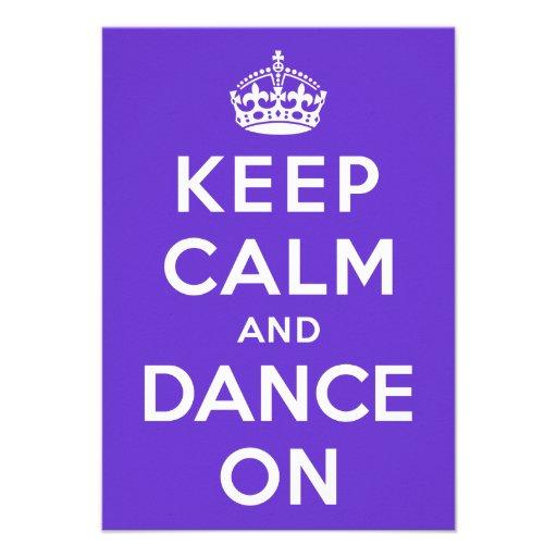 Guarde la calma y baile encendido invitacion personal