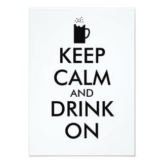 Guarde la calma y beba en amantes de la cerveza de invitación 12,7 x 17,8 cm