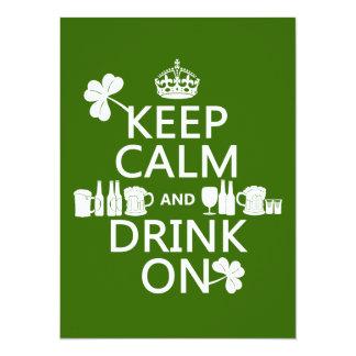 Guarde la calma y beba en (los patricks irlandeses invitación 13,9 x 19,0 cm
