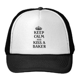 Guarde la calma y bese a un panadero gorras de camionero
