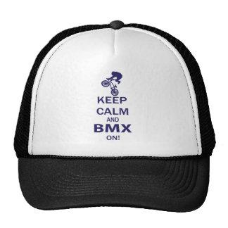 Guarde la calma y BMX ENCENDIDO Gorros