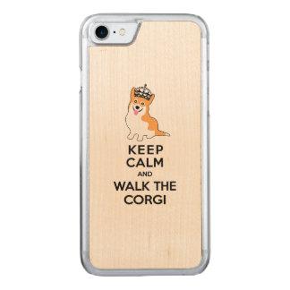 Guarde la calma y camine el perro lindo del Corgi Funda Para iPhone 7