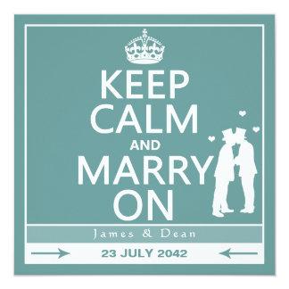 Guarde la calma y cásese en el boda gay invitacion personalizada