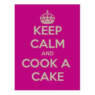 guarde la calma y cocine una torta postal