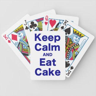 Guarde la calma y coma la torta barajas de cartas