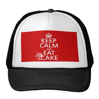 Guarde la calma y coma la torta los colores del p gorra