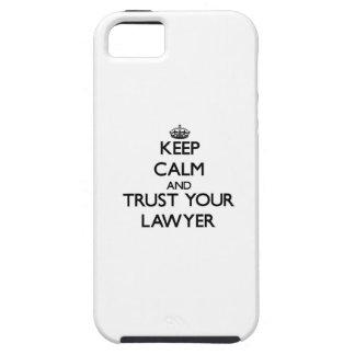 Guarde la calma y confíe en a su abogado iPhone 5 protectores