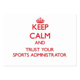 Guarde la calma y confíe en a su administrador de  tarjetas de negocios