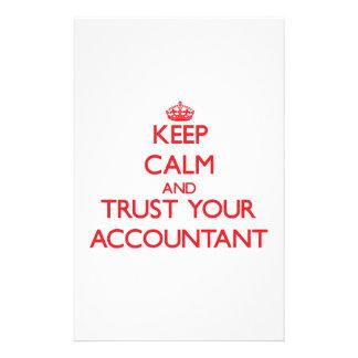 Guarde la calma y confíe en a su contable  papeleria de diseño