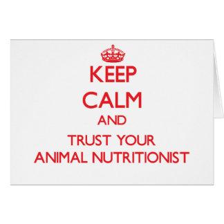 Guarde la calma y confíe en a su nutricionista tarjeta de felicitación