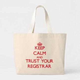 Guarde la calma y confíe en a su secretario bolsa tela grande