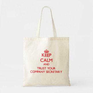 Guarde la calma y confíe en a su secretario de la bolsa tela barata