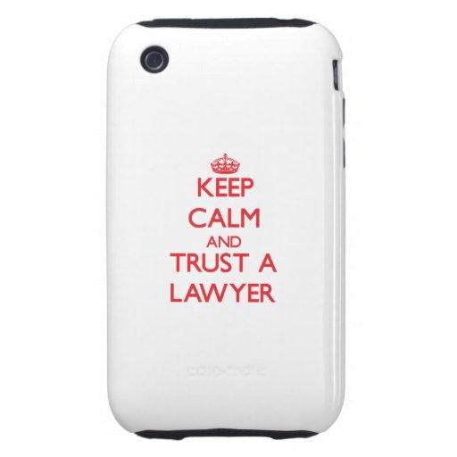 Guarde la calma y confíe en a un abogado iPhone 3 tough cárcasa