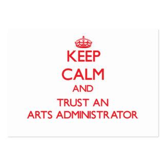 Guarde la calma y confíe en a un administrador de  tarjetas de visita